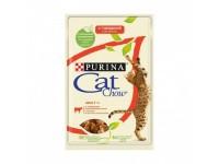 Cat Chow паучи для кошек кусочки в желе с говядиной и баклажанами 85 гр