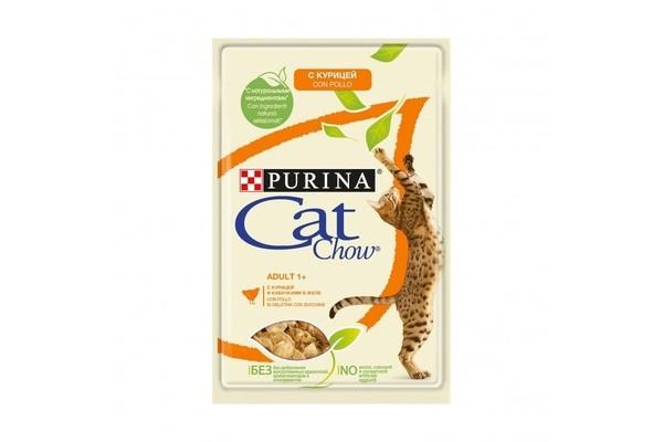 Cat Chow паучи для кошек кусочки в желе с курицей и кабачками 85 гр