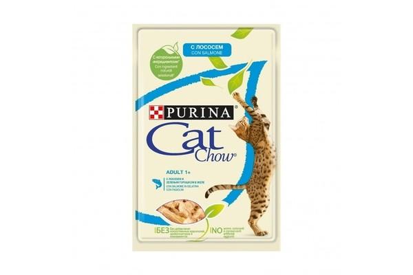 Cat Chow паучи для кошек кусочки в желе с лососем и зеленым горошком 85 гр