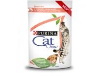 Cat Chow паучи для кошекс чувствительным пищеварением кусочки в соусе с лососем и кабачками 85 гр