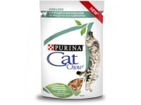 Cat Chow паучи стерилизованных кошек кусочки в соусе с курицей и баклажанами 85 гр