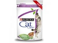Cat Chow паучи для профилактики образования комков шерсти кусочки в соусе с курицей и зеленой фасолью 85 гр