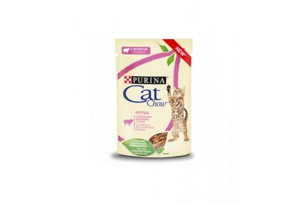 "Cat Chow паучи для котят ""Кусочки в соусе с ягнёнком и кабачком"" 85 гр"