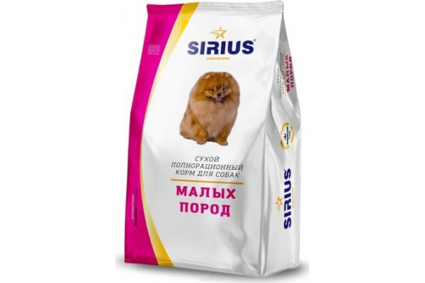 Полнорационный корм Sirius для собак мелких пород, 10 кг