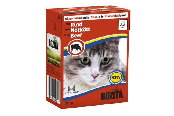 Консервированный полнорационный корм «Бозита Фелин» — кусочки в соусе с говядиной для котят и взрослых кошек 370 гр.