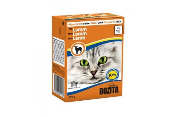 Консервированный полнорационный корм «Бозита Фелин» — кусочки в желе с ягнёнком для кошек 370 гр.