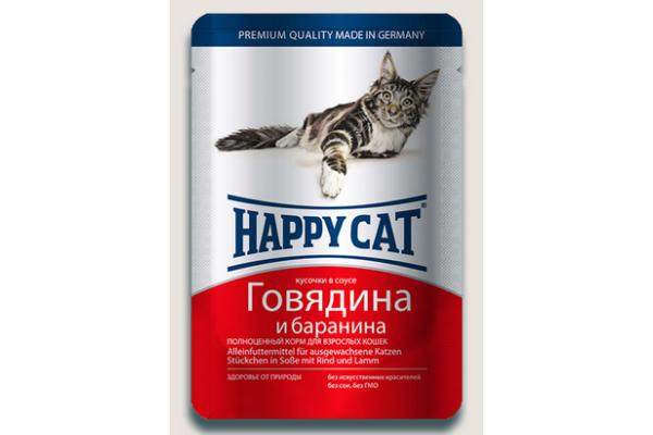 Happy Cat консервы для кошек Нежные кусочки в соусе Говядина и Баранина, 100 г