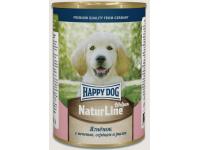 Happy Dog Natur Line консервы для щенков и молодых собак Аппетитный Ягненок с печенью, серцем и рисом, 410 г