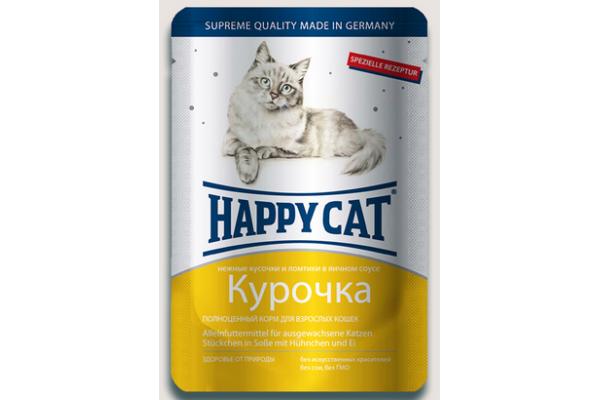 Happy Cat консервы для кошек Нежные кусочки в соусе Курочка ломтики, 100 г