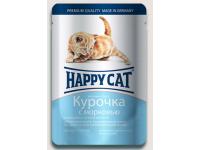 Happy Cat консервы для котят Нежные кусочки в соусе Курочка с морковью, 100 г