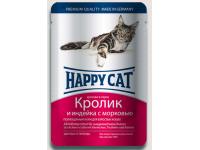 Happy Cat конcервы для кошек Нежные кусочки в соусе Кролик и индейка с морковью, 100 г