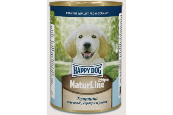 Happy Dog Natur Line консервы для щенков и молодых собак Нежная Телятина с печенью, сердцем и рисом, 410 г