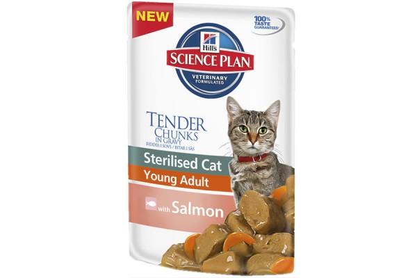 Hill's Science Plan Feline Young Adult Sterilised with Salmon - корм для стерилизованных кошек с 6 месяцев до 6 лет с лососем, 85 г (1942РТ)