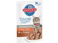 Hill's Science Plan Feline Young Adult Sterilised with Turkey - корм для стерилизованных кошек с 6 месяцев до 6 лет с индейкой, 85 г (3765L)