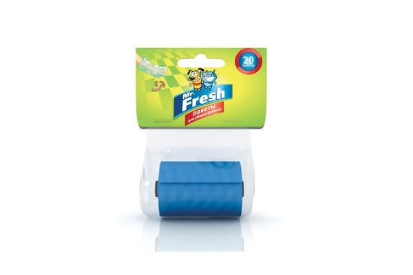 Mr. Fresh (М. Фреш) Пакеты для уборки фекалий, сменный рулон, 20 пакетов