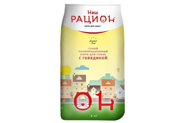 Полнорационный корм Наш рацион для собак с говядиной, 3 кг