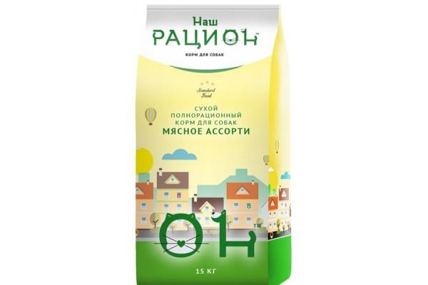 Полнорационный корм Наш рацион для собак - мясное ассорти, 15 кг
