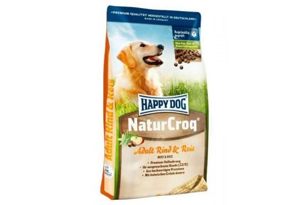 Happy Dog Naturcroq для взрослых собак всех пород Говядина и Рис, источник ценных углеводов, 15 кг