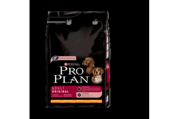 Pro Plan Adult Original Сухой корм для взрослых собак всех пород с курицей и рисом, 3 кг