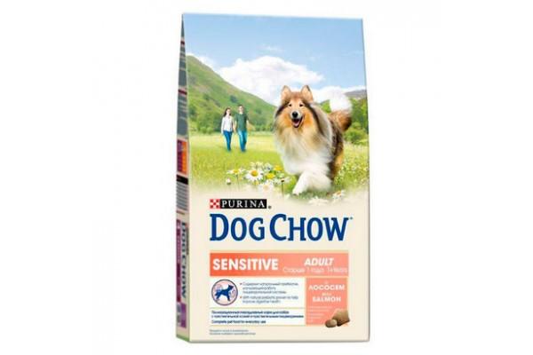 Dog Chow Adult Sensitive сухой корм для взрослых собак с чувствительным пищеварением с лососем, 14 кг