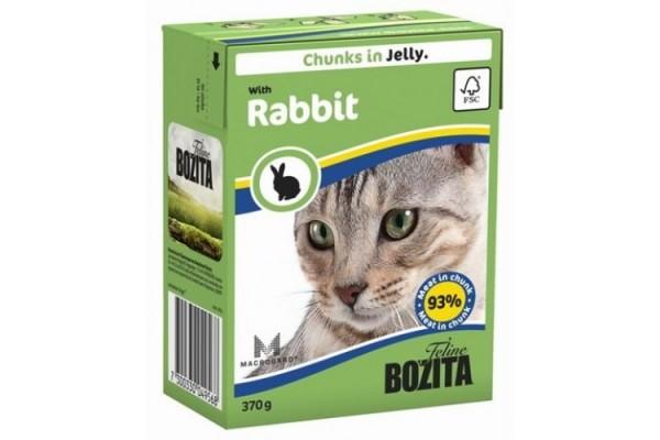 Консервированный полнорационный корм «Бозита Фелин» — кусочки в желе с кроликом для котят и кошек всех пород, размеров и возрастов 370 гр.