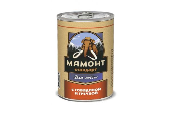 Мамонт Стандарт Говядина с гречкой для собак, 970 г