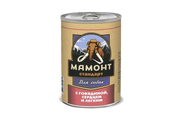 Мамонт Стандарт Говядина, сердце и легкое для собак, 970 г