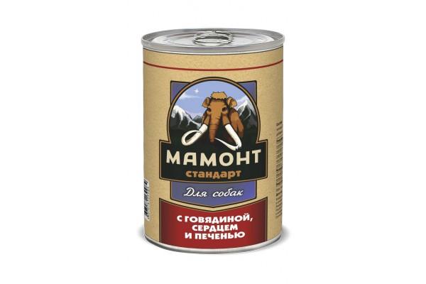 Мамонт Стандарт Говядина, сердце и печень для собак, 970 г