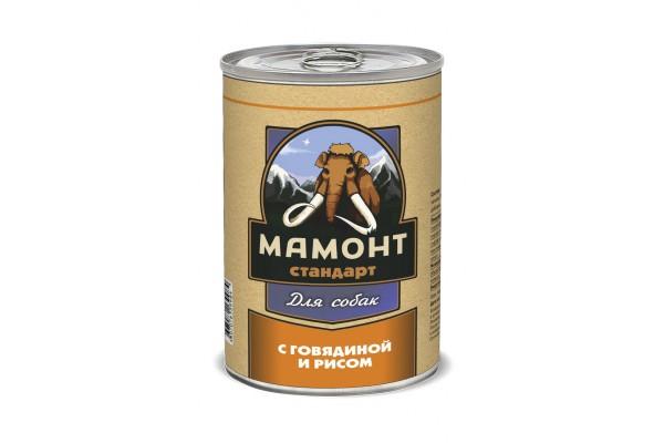 Мамонт Стандарт Говядина с рисом для собак, 970 г