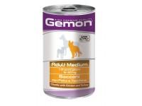 Gemon Dog Medium консервы для собак средних пород кусочки курицы с индейкой, 1250 г