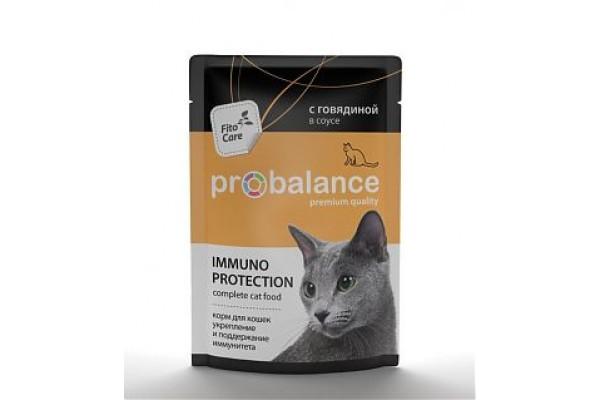 ProBalance Immuno Protection для взрослых кошек всех пород, укрепление и поддержание иммунитета, с говядиной в соусе, 85 г