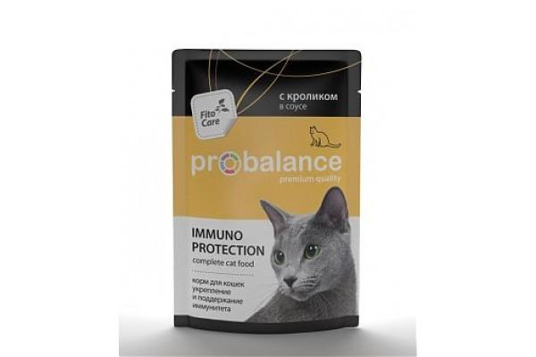 ProBalance Immuno Protection для взрослых кошек всех пород, укрепление и поддержание иммунитета, с кроликом в соусе, 85 г