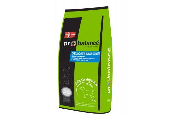 ProBalance Delecate Degestion для взрослых собак всех пород, профилактика нарушений пищеварения, с лососем, 15 кг