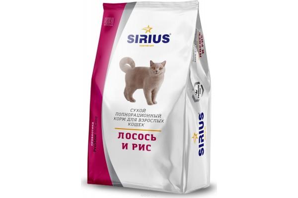 Полнорационный корм Sirius для кошек - лосось и рис, 0,4 кг