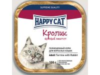 Happy Cat консервы для кошек Паштет Кролик кусочками, 100 г