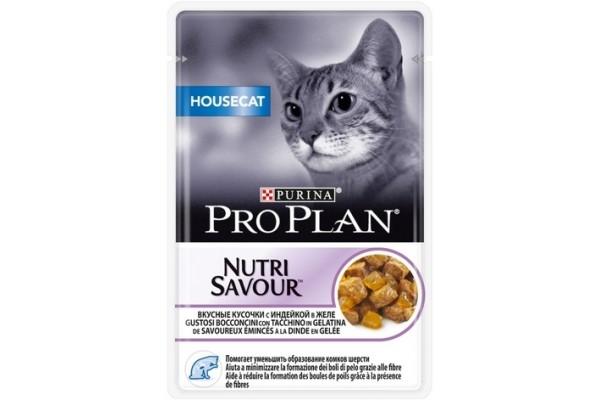 Pro Plan Housecat Влажный корм для домашних кошек с индейкой и желе, 85 г