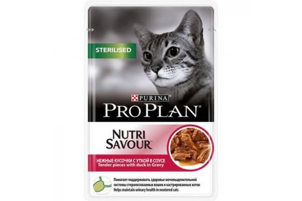 Pro Plan Sterilised Влажный корм для кастрированных котов и стерилизованных кошек с уткой (соус), 85 г