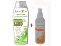 Шампунь Animal Play гипоаллергенный для щенков и котят, 250 мл + спрей приучение к туалету для собак и кошек, 200 мл ПРОМО