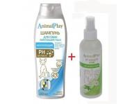Шампунь Animal Play укрепляющий для короткошерстных собак, 250 мл + спрей репеллентный для собак и щенков, 200 мл ПРОМО