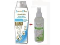 Шампунь Animal Play увлажняющий для длинношерстных собак, 250 мл + спрей репеллентный для собак и щенков, 200 мл ПРОМО