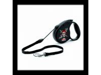 Поводок-рулетка для собак до 20 кг, 5 м, Flexi Rockstar black Pirat Tray M 5m 20 kg