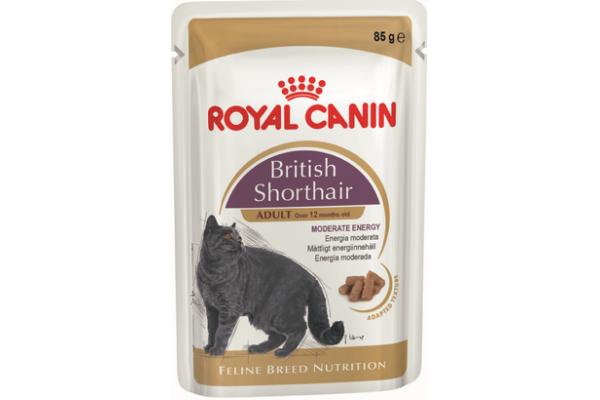 Влажный корм для британских короткошерстных кошек старше 12 месяцев Royal Canin British Shorthair Adult (в соусе), 85 гр (пауч)