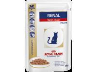 Диета для взрослых кошек с хронической почечной недостаточностью Royal Canin Renal Feline с говядиной, 85 гр (пауч)