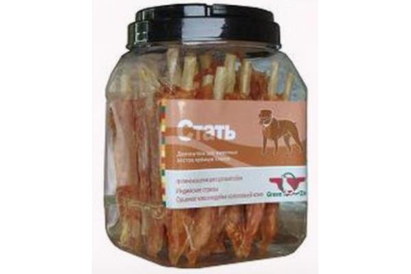 Грин Кьюзин (Green Qzin) лакомство для собак СТАТЬ (сушеное мясо индейки на воловьей коже), 750 г