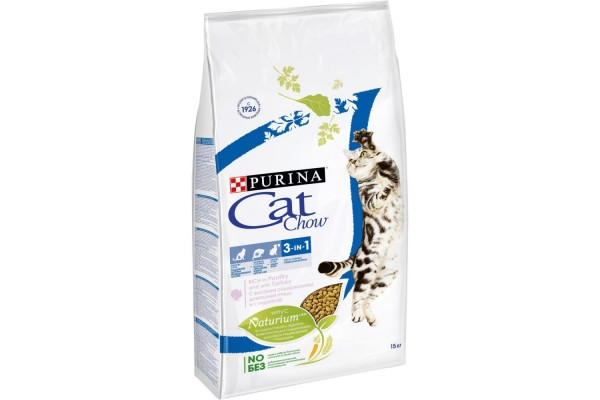 Cat Chow Feline 3 in 1 сухой корм для кошек 3 в 1, 15 кг