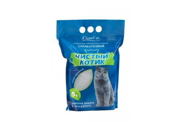 """Наполнитель силикагелевый """"Чистый котик"""" Премиум, 5 л"""