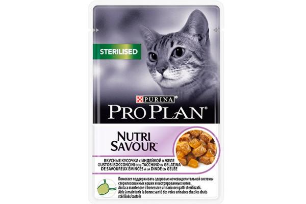 Pro Plan Sterilised Влажный корм для кастрированных котов и стерилизованных кошек с индейкой (желе), 85 г