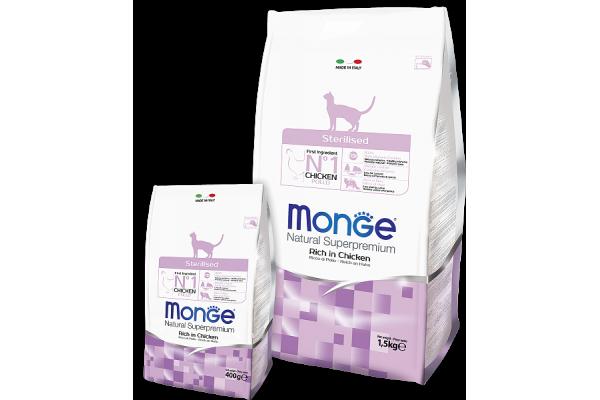 Monge Cat Sterilized корм для стерилизованных кошек с курицей и рисом, 400 г